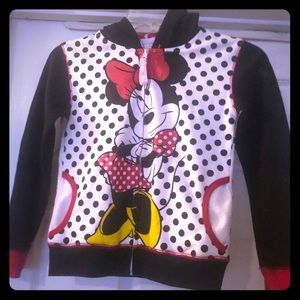 Minnie Mouse sweater with hood. Size large 6x